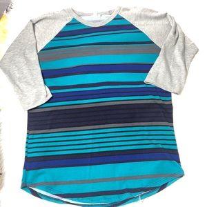 lularoe striped teal gray shirt | L